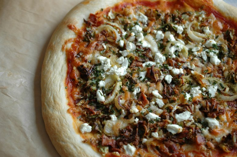 caramelized onion brussel sprouts bacon and goat cheese pizza