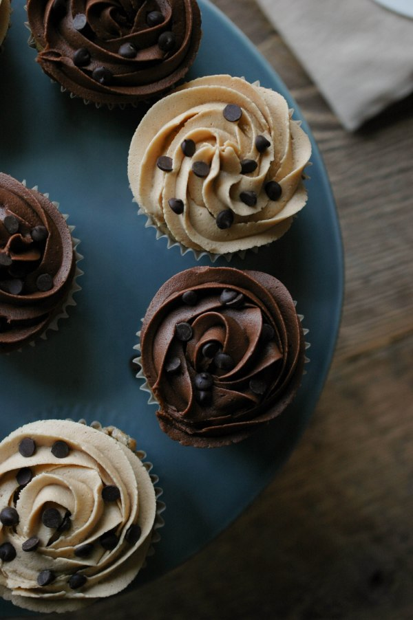 Banana Chocolate Chip Cupcakes with Peanut Butter or Chocolate Frosting-6