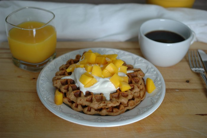 Wheat-Free Waffles with Whipped Cream and Mango-4
