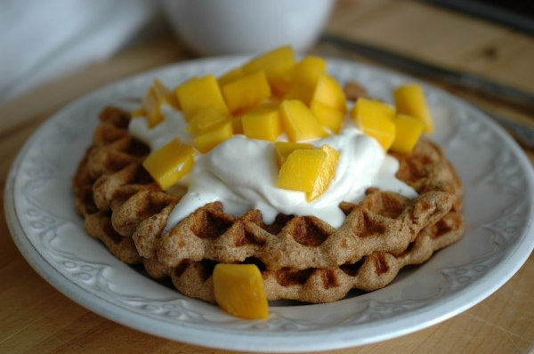 Wheat-Free Waffles with Whipped Cream and Mango-5