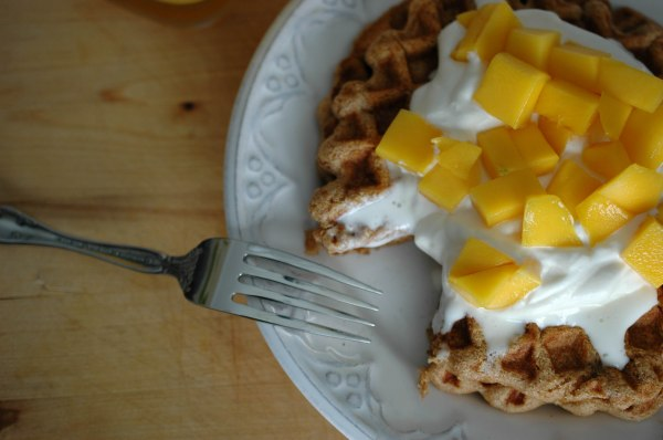 Wheat-Free Waffles with Whipped Cream and Mango-6