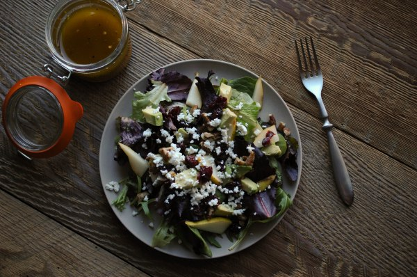 Avocado-Pear Salad with Italian Dressing-6